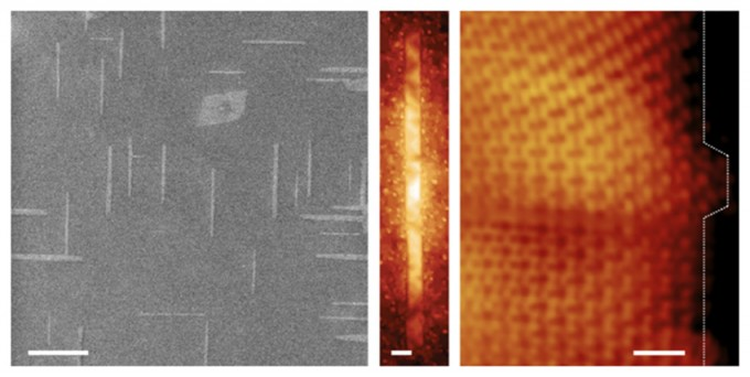 Progressively magnified images of graphene nanoribbons grown on germanium semiconductor wafers. The ribbons automatically align perpendicularly. Scale bars, left to right, are 400, 10, and 1 nanometer. (credit: Image courtesy of Michael Arnold, University of Wisconsin-Madison)