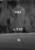 Cross-section transmission electron micrograph of SSO/c-YSZ/Si<br /> (001) heterostructure