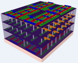 "A four-layer prototype high-rise chip built by Stanford engineers. The bottom and top layers are logic transistors. Sandwiched between them are two layers of memory. The vertical tubes are nanoscale electronic ""elevators"" that connect logic and memory, allowing them to work together efficiently. (Credit: Max Shulaker, Stanford)"