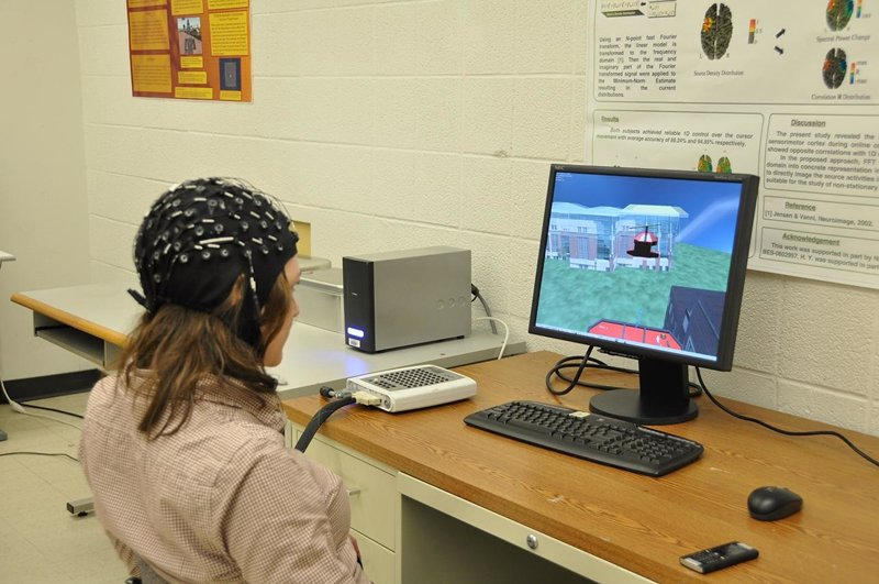 User controls flight of a 3D virtual helicopter using brain waves