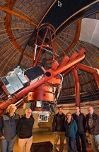 The NIROSETI team with their new infrared detector inside the dome at Lick Observatory. Left to right: Remington Stone, Dan Wertheimer, Jérome Maire, Shelley Wright, Patrick Dorval and Richard Treffers. (credit: © Laurie Hatch)