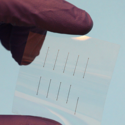 Experimental flexible resistive memory printed on a polyimide foil (credit: Bernard Huber)