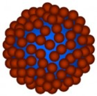 Schematic of magnetic microbubbles used in the study contain gas cores (blue) and shells of magnetic iron-oxide nanoparticles (red), forming a dense shell (center) around a drug-containing nanoparticles. When stimulated by ultrasound at resonant frequencies, the nanoparticles can travel hundreds of micrometers into tumor tissue.  (credit:  Yu Gao et al./NPG Asia Materials)