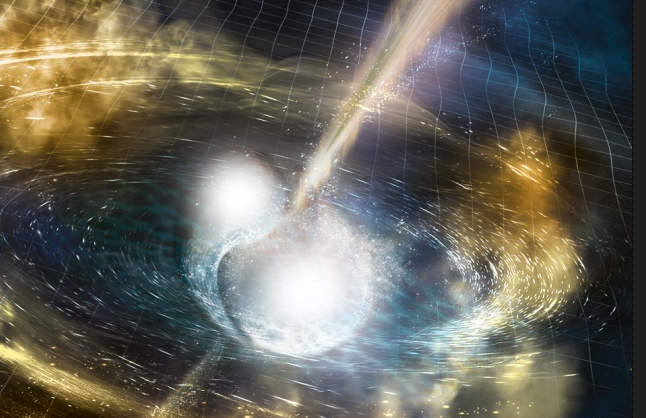 Astronomers detect gravitational waves and a gamma-ray burst from two colliding neutron stars. (credit: National Science Foundation/LIGO/Sonoma State University/A. Simonnet)