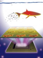 3D-printed microfish contain functional nanoparticles that enable them to be self-propelled, chemically powered and magnetically steered. The microfish are also capable of removing and sensing toxins. (credit: J. Warner, UC San Diego Jacobs School of Engineering)