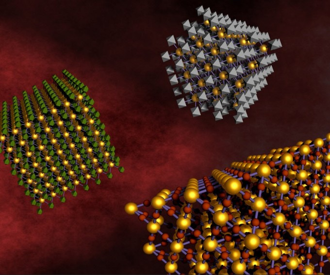 DNA linkers allow different kinds of nanoparticles to self-assemble and form relatively large-scale nanocomposite arrays. This approach allows for mixing and matching components for the design of multifunctional materials. (credit: Brookhaven National Laboratory)