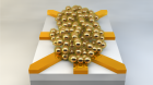 Schematic of a nanoparticle network (about 200 nanometres in diameter). By applying electrical signals at the electrodes (yellow), and using artificial evolution, this disordered network can be configured into useful electronic circuits. (credit: University of Twente)