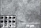 Negative index material (11 layers) transferred to a glass substrate by n nanotransfer printing, with an enlarged view at the bottom left inset (credit:  Li Gao et al./Advanced Optical Materials)