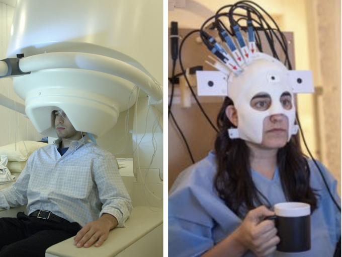 (Left) Current stationary MEG scanner. (Right) New wearable scanner, allowing for movement. (credit: National Institute of Mental Health and University of Nottingham)