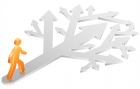 orange stick figure with gray arrows