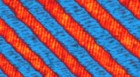 The herringbone pattern of nanoscale domains is key to enabling faster switching in ferroelectric materials. (Credit: Ruijuan Xu and Lane W. Martin, UC Berkeley)