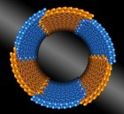 Precision meets nano-construction, as seen in this illustration. Berkeley Lab scientists discovered a peptoid composed of two chemically distinct blocks (shown in orange and blue) that assembles itself into nanotubes with uniform diameters. (credit: Berkeley Lab)
