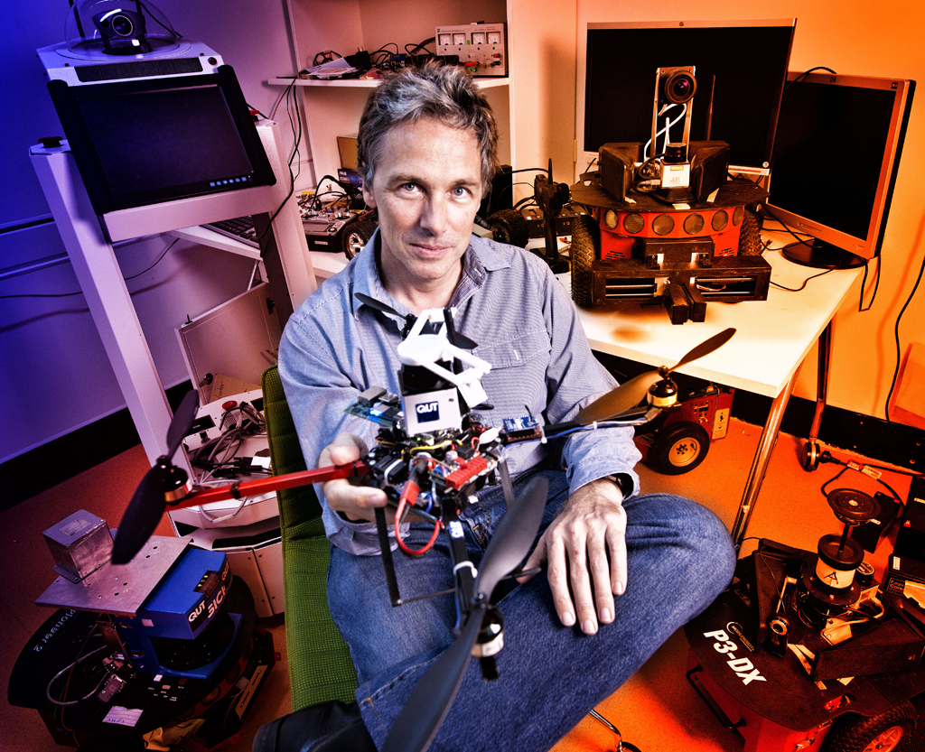 Professor Peter Corke with flying robot