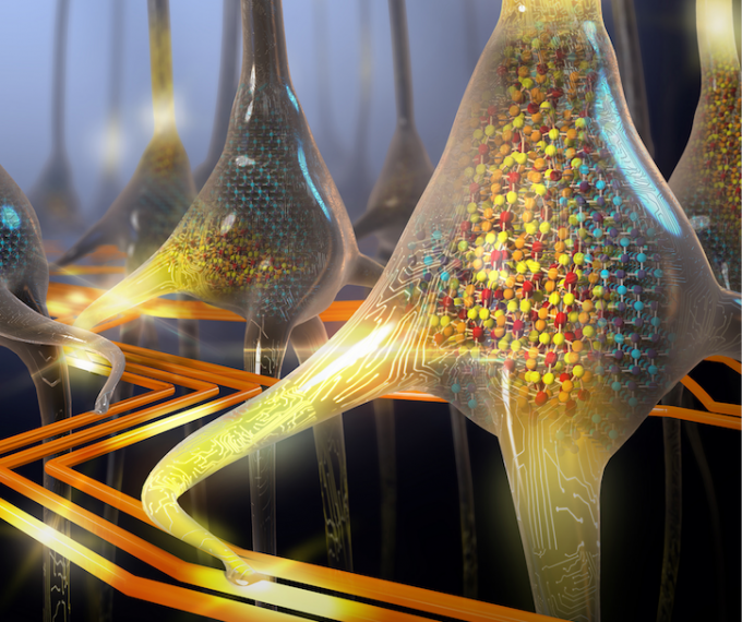 An artistic rendering of a population of stochastic phase-change neurons that appears on the cover of Nature Nanotechnology, August 3, 2016. (credit: IBM Research)