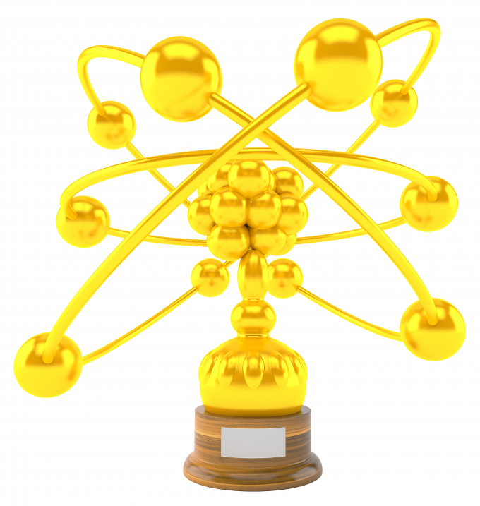 photo - gold trophy + wood base - no. 1