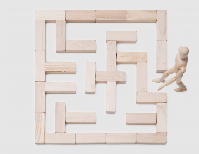 photo - wood maze + wood figure - no. 2