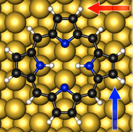 Calculated adsorption geometry of porphine adsorbed at copper bridge site (credit: Moritz  Müller et al./J. Chem. Phys.)