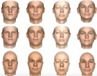 Two-dimensional images of human faces (top row) and front views of three-dimensional models of the same faces, produced by both a new MIT system (middle row) and one of its predecessors (bottom row). (credit: Courtesy of the researchers)