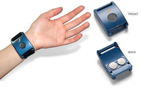 Q Sensor Curve is designed to wear on the wrist, so it is comfortable and unobtrusive to wear all day at work, play, or sleep. This makes it ideal for long-term measurement in clinical and therapeutic research. (Credit: Affectiva)