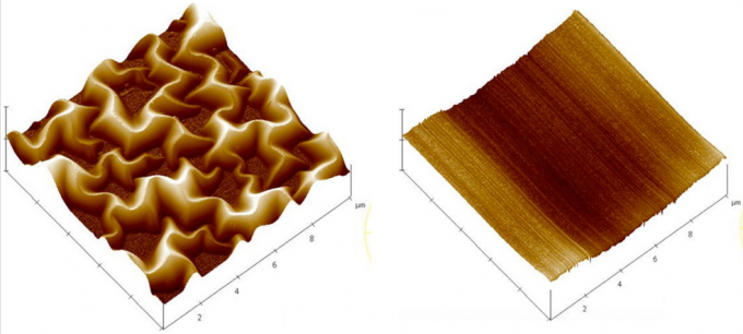 "Atomic force microscopy image of as-deposited (left) and laser-annealed (right) rGO (bottom) thin films. The entire ""pulsed laser annealing"" process is done at room temperature and atmospheric pressure using high-power nanosecond laser pulses to ""melt"" the rGO material; it is completed in about 200 nanoseconds. (credit: Anagh Bhaumik and Jagdish Narayan/Journal of Applied Physics)"