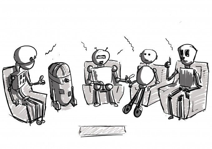 robots in conversation on stage