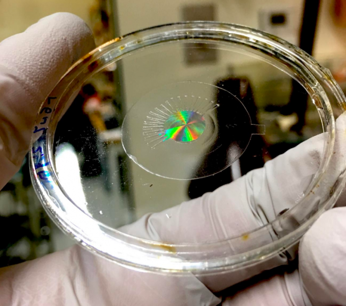 A metalens (made of silicon) mounted on a transparent, stretchy polymer film, without any electrodes. The colorful iridescence is produced by the large number of nanostructures within the metalens. (credit:Harvard SEAS)