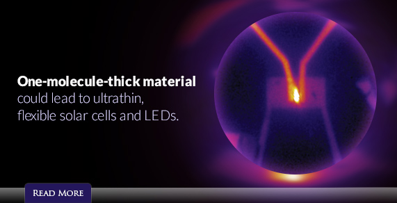 One-molecule-thick material could lead to ultrathin, flexible solar cells and LEDs.