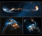 The glowing, clumpy streams of material shown in these NASA/ESA Hubble Space Telescope images are the signposts of star birth. Ejected episodically by young stars like cannon salvos, the blobby material zips along at more than 700 000 kilometres per hour. The speedy jets are confined to narrow beams by the powerful stellar magnetic field. Called Herbig-Haro or HH objects, these outflows have a bumpy ride through space. When fast-moving blobs collide with slower-moving gas, bow shocks arise as the material heats up. Bow shocks are glowing waves of material similar to waves produced by the bow of a ship ploughing through water. In HH 2, at lower right, several bow shocks can be seen where several fast-moving clumps have bunched up like cars in a traffic jam. In HH 34, at lower left, a grouping of merged bow shocks reveals regions that brighten and fade over time as the heated material cools where the shocks intersect. In HH 47, at top, the blobs of material look like a string of cars on a crowded motorway, which ends in a chain-reaction accident. The smash up creates the bow shock, left. These images are part of a series of time-lapse movies astronomers have made showing the outflows' motion over time. The movies were stitched together from images taken over a 14-year period by Hubble's Wide Field Planetary Camera 2. Hubble followed the jets over three epochs: HH 2 from 1994, 1997, and 2007; HH 34 from 1994, 1998, and 2007; and HH 47 from 1994, 1999, and 2008. The outflows are roughly 1350 light-years from Earth. HH 34 and HH 2 reside near the Orion Nebula, in the northern sky. HH 47 is located in the southern constellation of Vela (credit: NASA, ESA, and P. Hartigan (Rice University))