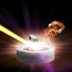 In this artistic rendering, a magnetic pulse (right) and X-ray laser light (left) converge on a high-temperature superconductor to study the behavior of its electrons. (credit: SLAC National Accelerator Laboratory)