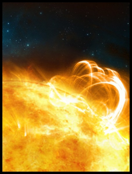 SUN_B & BORDER: What the Sun might look like if it were to produce a superflare. A large flaring coronal loop structure is shown towering over a solar active region (credit: University of Warwick/Ronald Warmington)