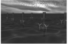 Artist's impression of a tidal turbine array (credit: Phil. Trans. R. Soc)
