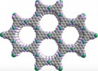 Top view , illustrating the porous and layered structure of a highly conductive powder (Ni3(HITP)2), precursor to a new, tunable graphene analog. (Credit: Image courtesy of Mircea Dinc?, Massachusetts Institute of Technology)