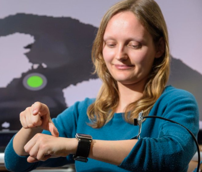 A smartwatch could have an embedded depth sensor on its side, aimed at the back of the hand and the space above it, allowing for easy typing and control. Or in a music program, the volume could be adjusted. (credit: Srinath Sridhar et al.)