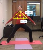 An incorrect Warrior II yoga pose is outlined showing angles and measurements. Using geometry, the Kinect reads the angles and responds with a verbal command to raise the arms to the proper height.